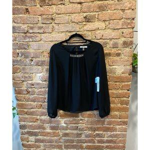 DKNY Dressy Black Blouse w/ Beaded Neckline
